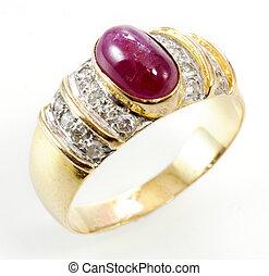 ring, diament, rubin