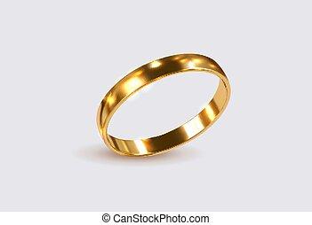 ring., dorado, vector, illustration., realista