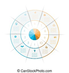 Ring from colored lines infographic ten number options