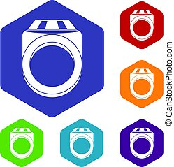 Ring icons set hexagon