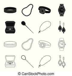 Ring in a case, hair clip, earrings with stones, a cross on a chain. Jewelery and accessories set collection icons in black,outline style vector symbol stock illustration web.