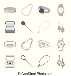 Ring in a case, hair clip, earrings with stones, a cross on a chain. Jewelery and accessories set collection icons in outline,monochrome style vector symbol stock illustration web.