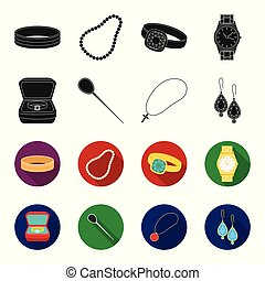 Ring in a case, hair clip, earrings with stones, a cross on a chain. Jewelery and accessories set collection icons in black,flet style vector symbol stock illustration web.