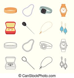 Ring in a case, hair clip, earrings with stones, a cross on a chain. Jewelery and accessories set collection icons in cartoon,outline style vector symbol stock illustration web.