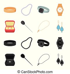 Ring in a case, hair clip, earrings with stones, a cross on a chain. Jewelery and accessories set collection icons in black,cartoon style vector symbol stock illustration web.