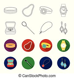 Ring in a case, hair clip, earrings with stones, a cross on a chain. Jewelery and accessories set collection icons in outline,flet style vector symbol stock illustration web.