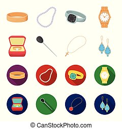 Ring in a case, hair clip, earrings with stones, a cross on a chain. Jewelery and accessories set collection icons in cartoon,flat style vector symbol stock illustration web.