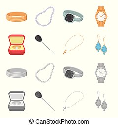 Ring in a case, hair clip, earrings with stones, a cross on a chain. Jewelery and accessories set collection icons in cartoon,monochrome style vector symbol stock illustration web.