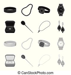 Ring in a case, hair clip, earrings with stones, a cross on a chain. Jewelery and accessories set collection icons in black,monochrome style vector symbol stock illustration web.