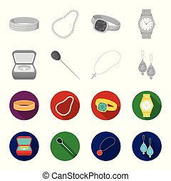 Ring in a case, hair clip, earrings with stones, a cross on a chain. Jewelery and accessories set collection icons in monochrome,flat style vector symbol stock illustration web.