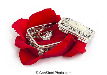 Ring in a Jewelry Box with rose