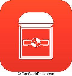 Ring in a velvet box icon digital red