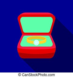 Ring in box icon in flat style isolated on white background. Jewelry and accessories symbol stock vector illustration.