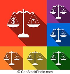 Ring jewelery and dollar symbol on scales. Vector. Set of icons with flat shadows at red, orange, yellow, green, blue and violet background.
