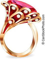 ring, kawał, rubin, biżuteria, czerwony