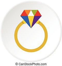 Ring LGBT icon circle - Ring LGBT icon in flat circle...
