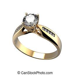 ring, mit, diamant, freigestellt