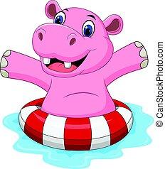ring, nijlpaard, inflatable, spotprent