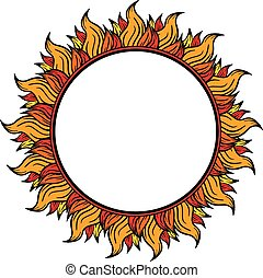 ring of fire circular frame isolated on white background, vector illustration