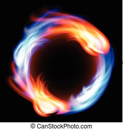 Ring of fire in black background. EPS10 vector.
