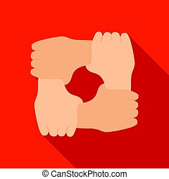 Ring of hands icon in flate style isolated on white background. Charity and donation symbol stock vector illustration.
