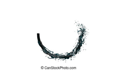 ring of transparent blue paint flowing and rotating. Isolated on white background, alpha channel included like alpha matte FULL HD Element of Motion graphics 1.