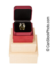 Ring on a cardboard box tower