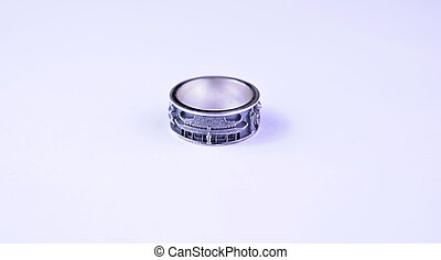ring on a white background, with the image of a Japanese temple