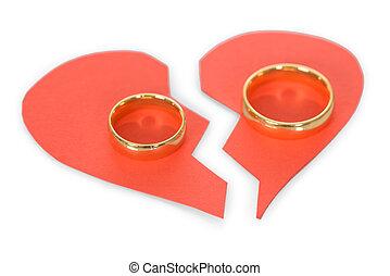 Ring On Broken Heart - Golden Ring On Red Broken Heart Over...
