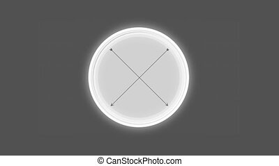 Ring pulsing around white circle with crossed black arrows