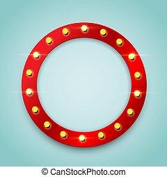 Ring red bulb frame. Vector design element.