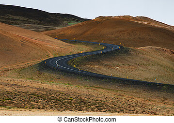 Ring road in a desert land, Iceland