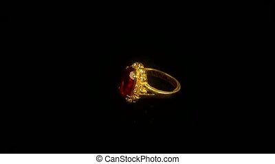 ring., rotation, diamant, rubis