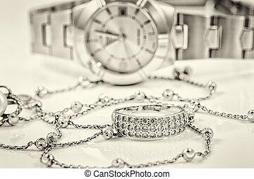 ring, tło, czaty, łańcuch, srebro