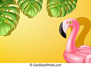 ring, vector, flamingo, pool, roze, inflatable, 3d