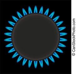 ring, vector, gasfornuis, burning