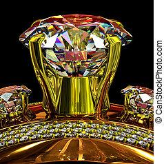 ring, verplichting, juwelen, goud, gem.