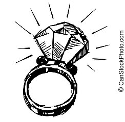Ring with a big sparling diamond isolated on white ...