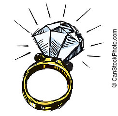 Ring with a big sparling diamond isolated on white background. Sketch vector illustration