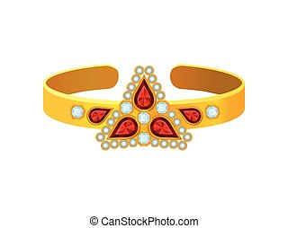 Ring with a triangle of precious stones. Vector illustration.