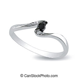 Ring with black onyx. Vector - Ring with black onyx isolated...