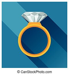Ring with brilliant in flat design style.