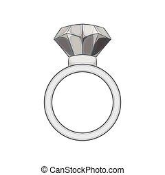 Ring with diamond icon, black monochrome style