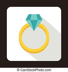 Ring with diamond icon, flat style