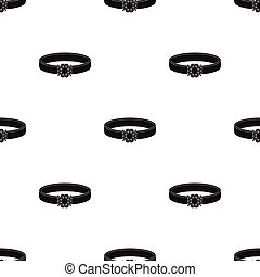 Ring with diamond icon in black style isolated on white background. Jewelry and accessories pattern stock vector illustration.