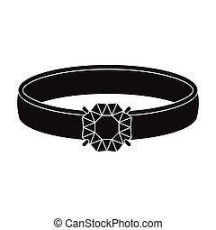 Ring with diamond icon in black style isolated on white background. Jewelry and accessories symbol stock vector illustration.