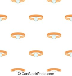 Ring with diamond icon in cartoon style isolated on white background. Jewelry and accessories pattern stock vector illustration.