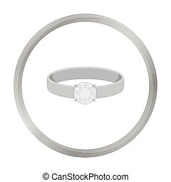 Ring with diamond icon in monochrome style isolated on white background. Jewelry and accessories symbol stock vector illustration.