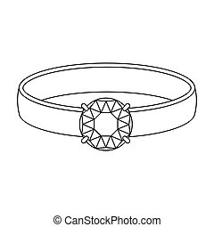 Ring with diamond icon in outline style isolated on white background. Jewelry and accessories symbol stock vector illustration.