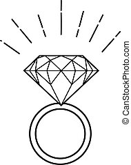 ring with diamond - Outline illustration of ring with...